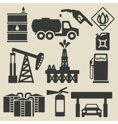 Oil production industry icons set vector