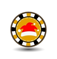 poker chip Christmas new year Cap Santa Claus red vector image