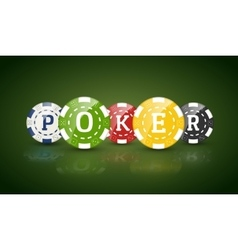 Poker chips with word POKER Casino concept of vector image
