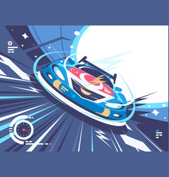 Power racing car on speed track vector