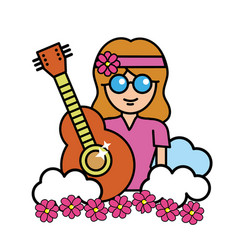 Pretty hippie woman with guitar and cloud vector