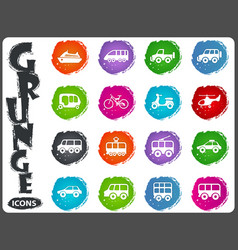 Public transport icons set in grunge style vector