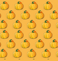 Pumpkin seamless pattern background autumn harvest vector
