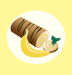 Roll cakes with banana fruits cream sweets vector