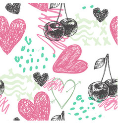 Seamless artistic hand drawn pattern vector