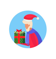 senior man holding gift box happy new year merry vector image