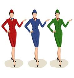 Set 3 stewardesses dressed in uniform vector