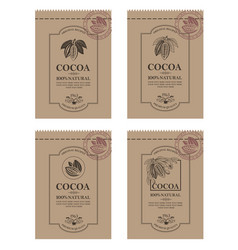 Set of cocoa packaging vector