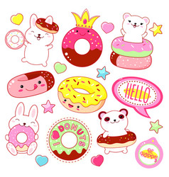 Set of cute donuts icons vector