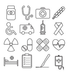 Set of medical line icon vector