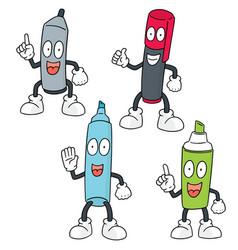 Set of pen cartoon vector