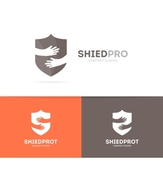 shield and hands logo combination Security vector image