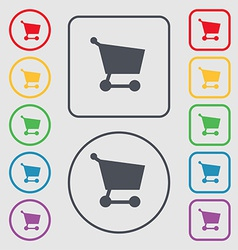 Shopping basket icon sign symbol on the Round and vector
