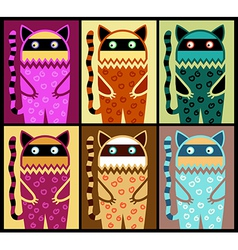 six colored fantasy cat pattern vector image