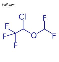 Skeletal formula isoflurane drug chemical vector