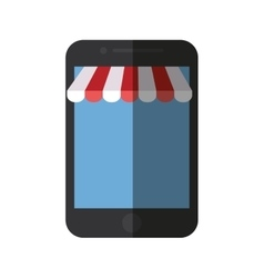 Smartphone shopping online store color shadow vector