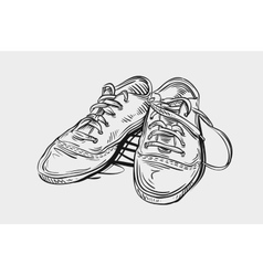 Sneakers Hand drawn sketch shoes vector image