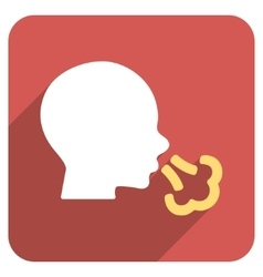 Sneezing Flat Rounded Square Icon with Long Shadow vector