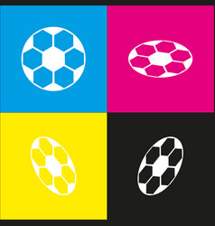 Soccer ball sign white icon with vector