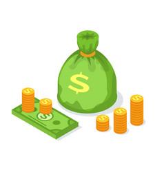 stack golden coins money sack or bag dollars vector image