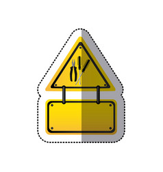 Sticker colorful traffic sign with plier and set vector
