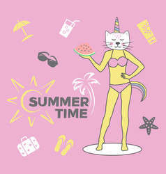 summer time cute on pink vector image