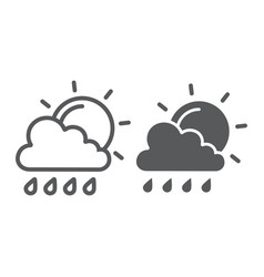 sun and rain line and glyph icon weather and vector image