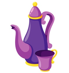 Tea cups with teapot vector