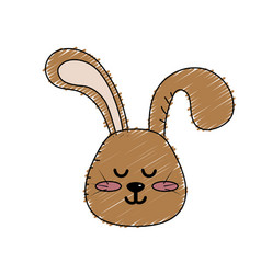 Teddy rabbit boy head animal wild vector