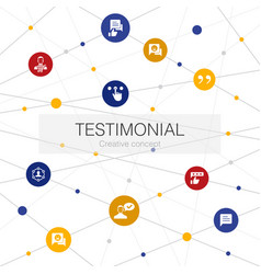Testimonial trendy web template with simple icons vector