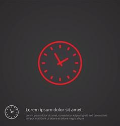 Time outline symbol red on dark background logo vector