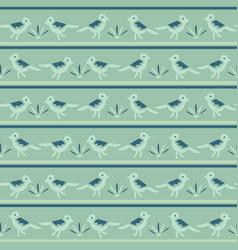 Tiny birds dotty stripes seamless pattern vector