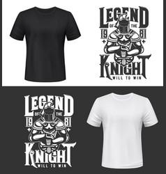 tshirt print with knight and sword mockup vector image