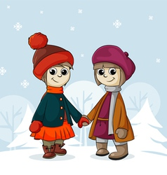 Two girlfriends in winter vector image
