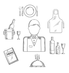 Waiter profession and restaurant catlery sketch vector