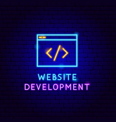 Website development neon label vector