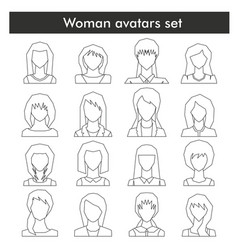 woman avatars set in black line style vector image