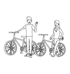 women in bicicles black and white vector image