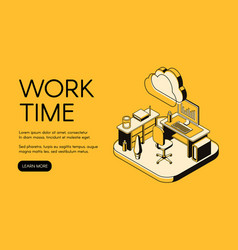 Work time and office workplace vector