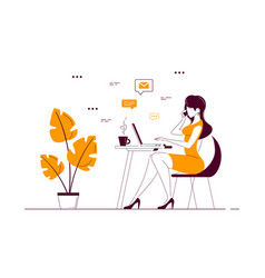 young woman working on computer in office vector image