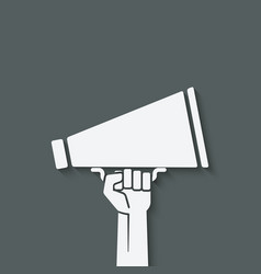 hand with megaphone symbol vector image