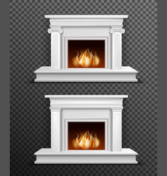indoor fireplace set on transparent background vector image vector image