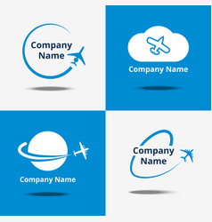 plane logo set air travel logos or flight vector image
