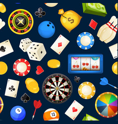 seamless pattern with gambling and other casino vector image