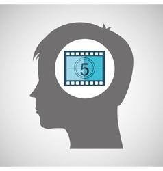 strip countdown film silhouette head think movie vector image
