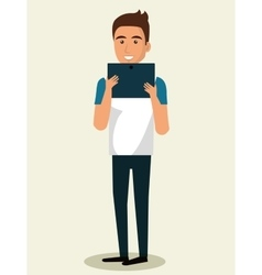 young man using smartphone avatar character vector image