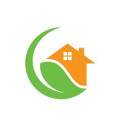 circle home leaf eco nature logo vector image