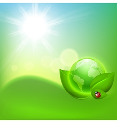 Concept ecological background with the globe vector image