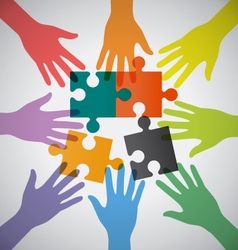 Many Teamwork People Join Colorful Hand and vector image
