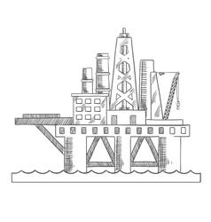 Sea platform drilling offshore oil vector image vector image